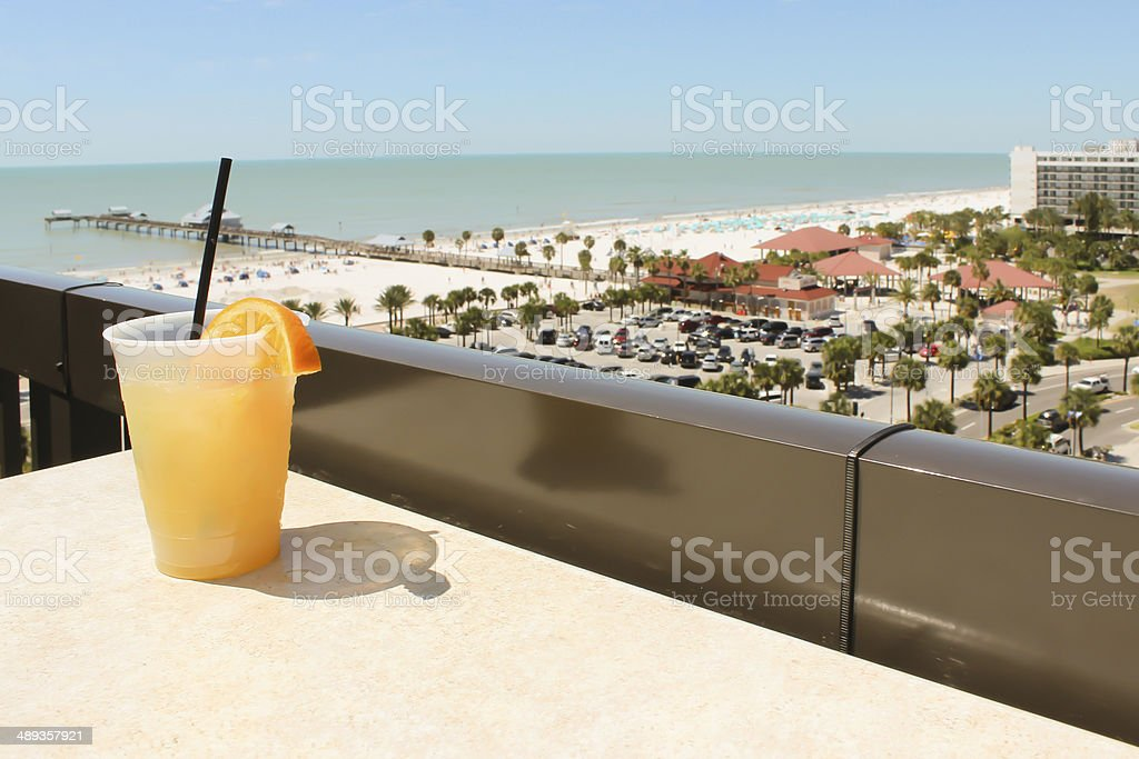 Fruity Drink On Rooftop Lounge stock photo