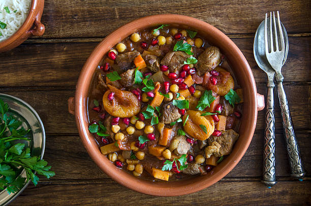 fruity lamb tagine - tagine stock-fotos und bilder