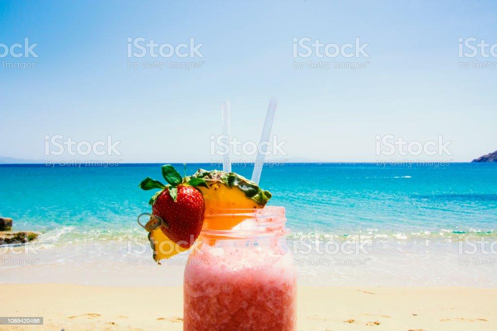 Fruity Smoothie on the Beach stock photo