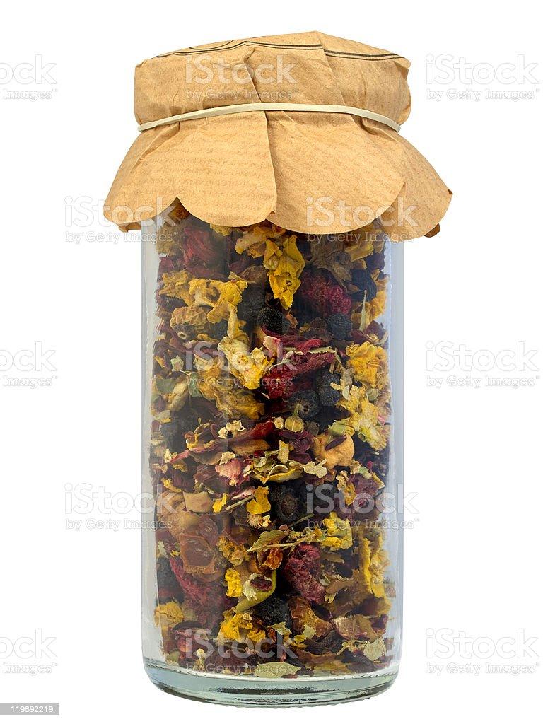Fruity tea in a jar royalty-free stock photo