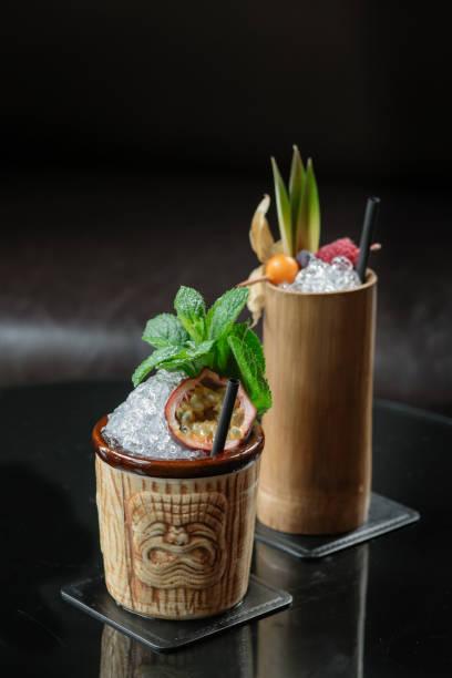 Fruity Tiki Cocktails stock photo