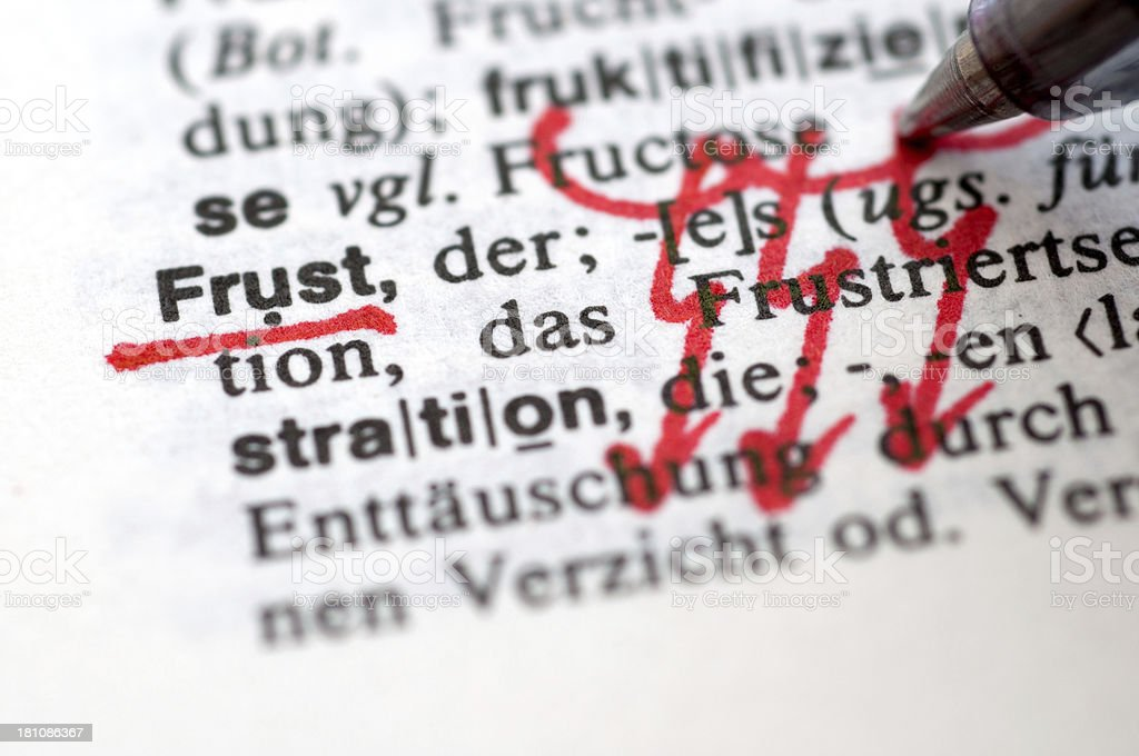 Frust - German word drawing royalty-free stock photo