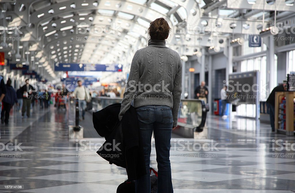 Frustrated Airport Traveler stock photo