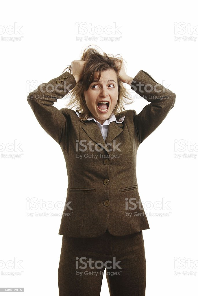 Frustrated and stressed business woman - isolated royalty-free stock photo