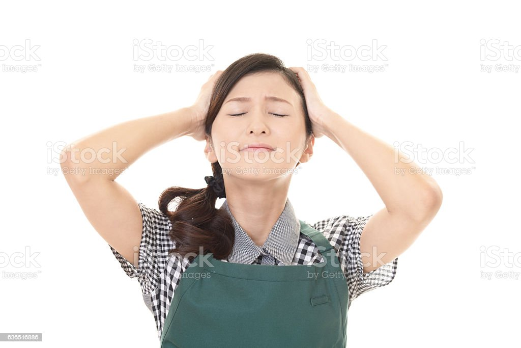 Frustrated Asian woman stock photo