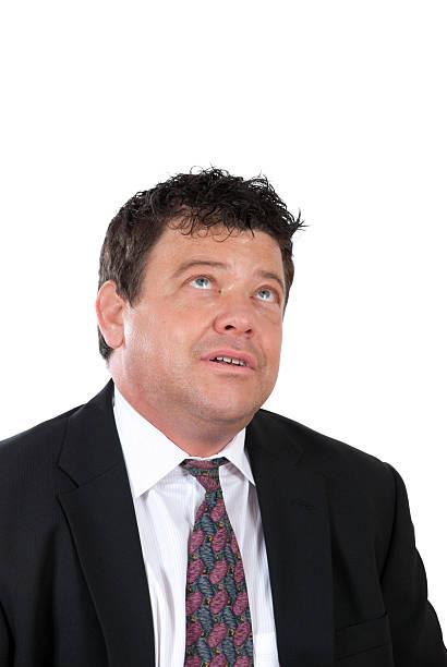 Frustrated Businessman Looks Toward Heaven stok fotoğrafı