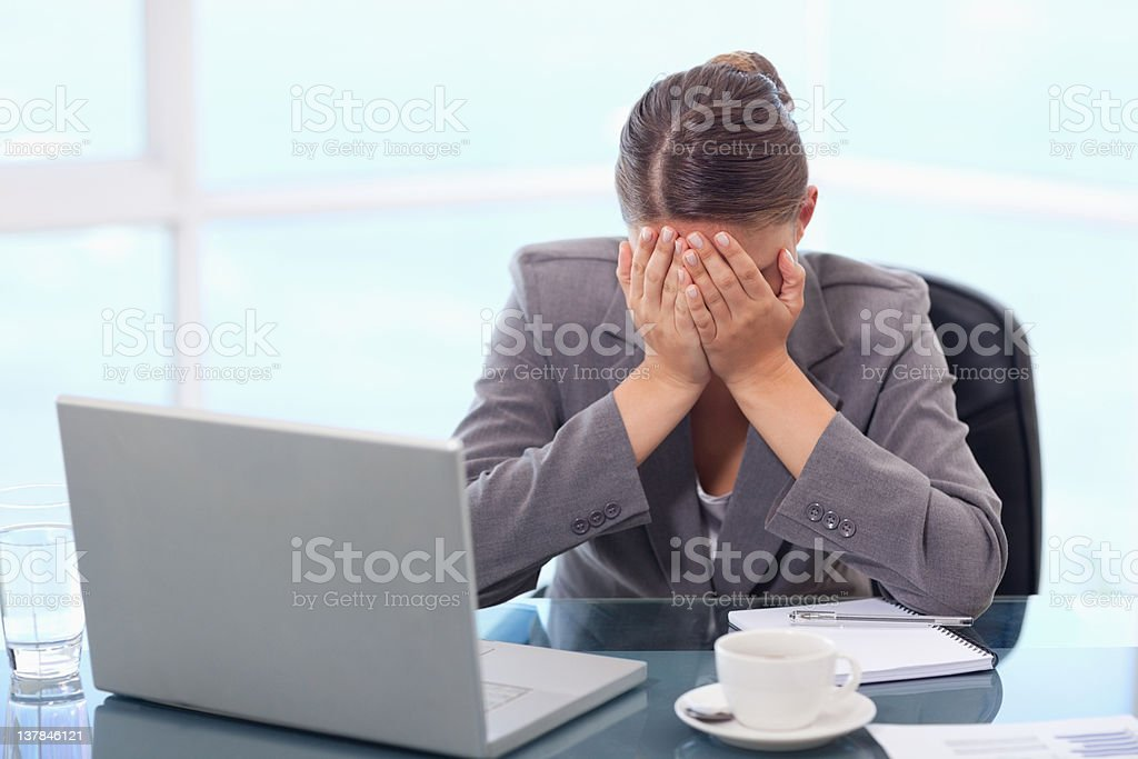 Frustrated businesswoman crying royalty-free stock photo