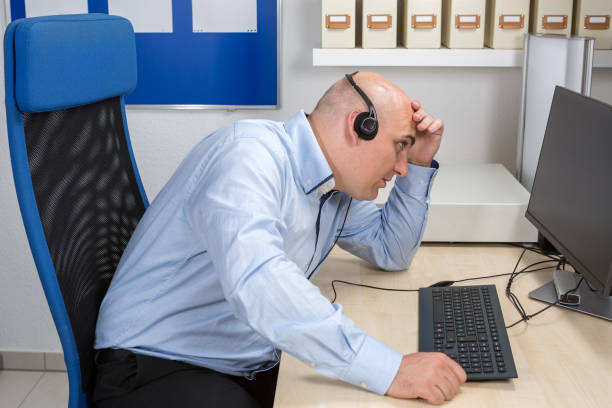 Frustrated call center employees desperate to the customer stock photo