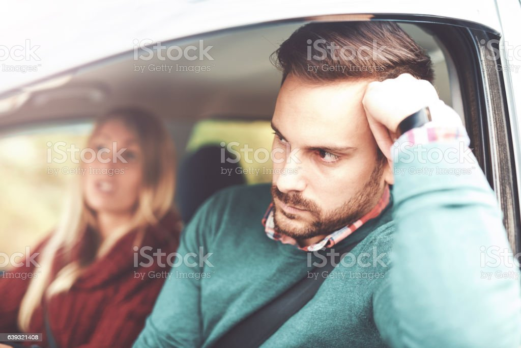 Frustrated car driver. Problem with orientation on the road. Bad stock photo