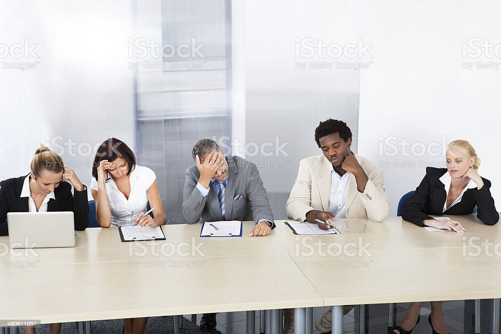 Frustrated Corporate Personnel Officers At Panel stock photo