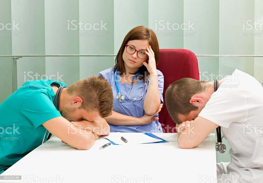 Frustrated doctors stock photo