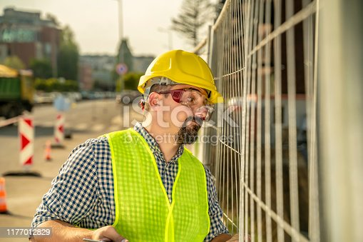 istock Frustrated engineer, construction worker or architect 1177012829