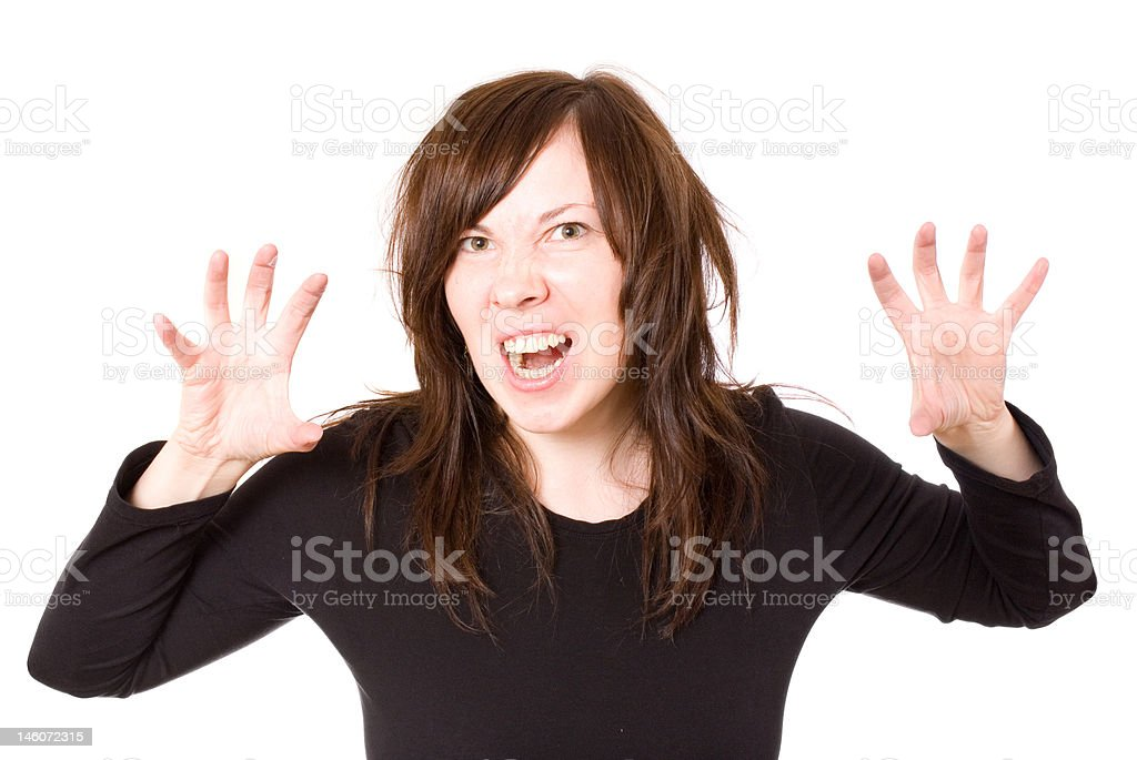 frustrated female, stressed woman, isolated royalty-free stock photo