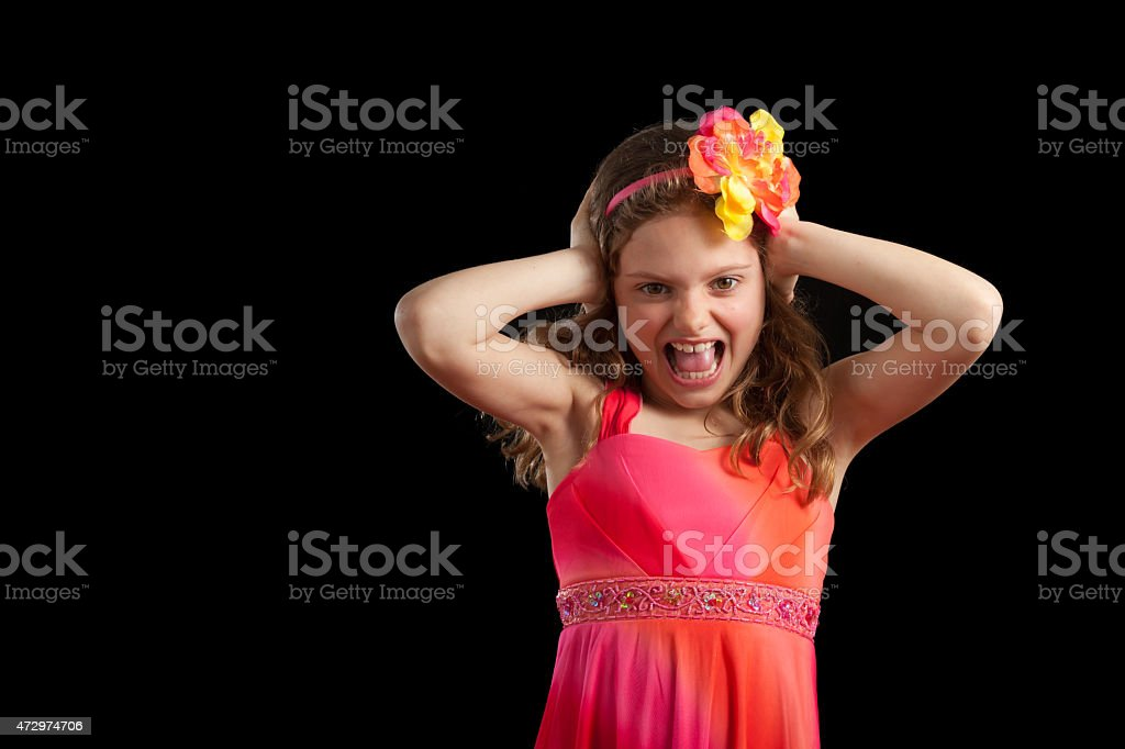 Frustrated Girl With Hands On Head stock photo