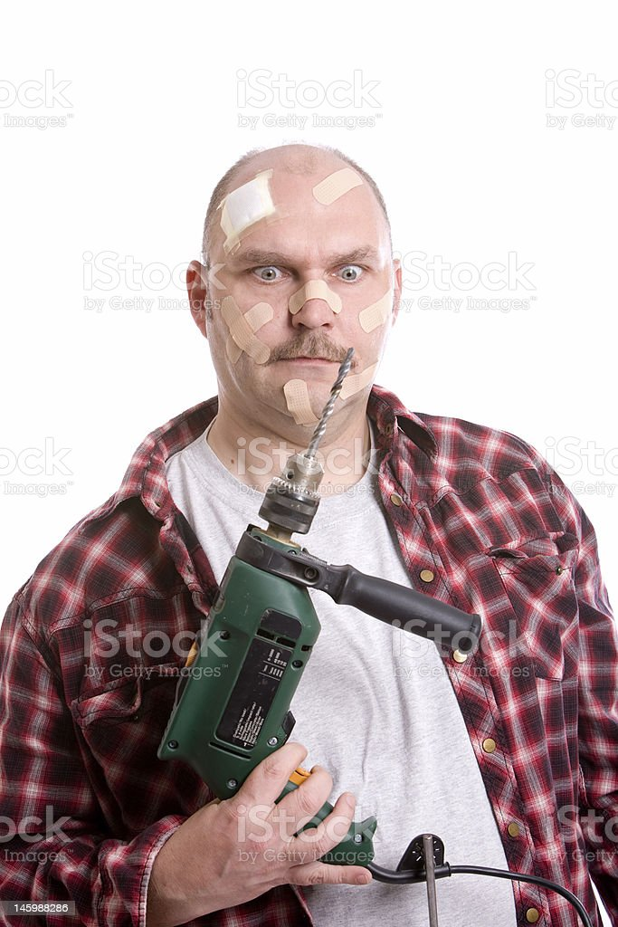 Frustrated handyman royalty-free stock photo