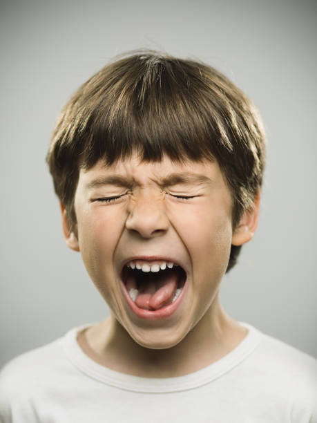 Frustrated little boy screaming stock photo