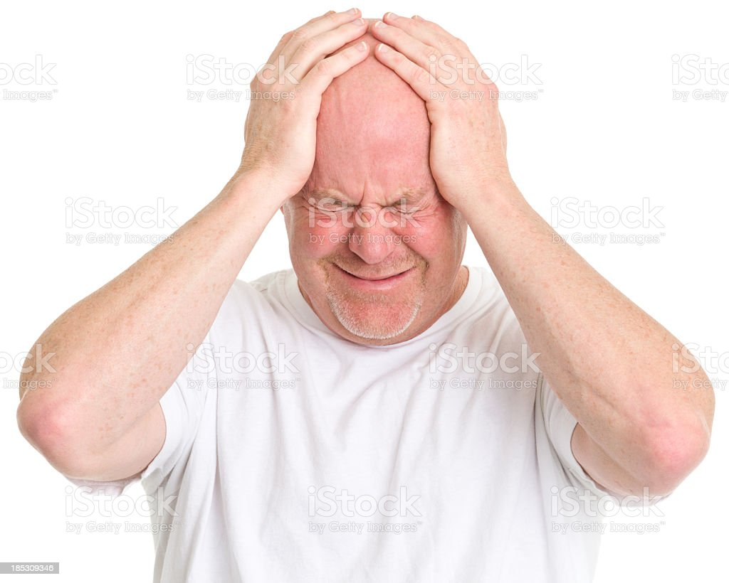 Frustrated Man With Head in Hands royalty-free stock photo