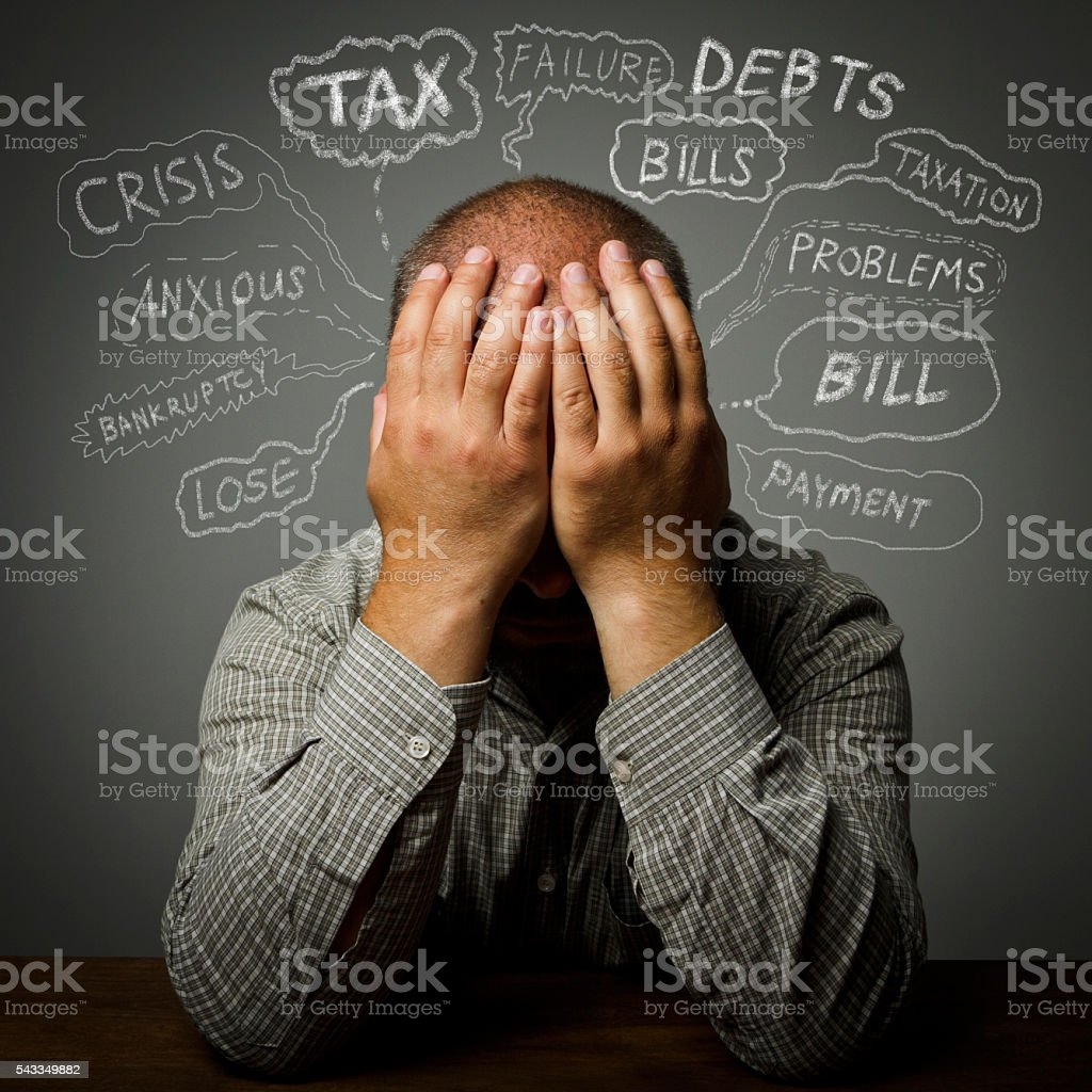 Frustrated. Many problems. stock photo