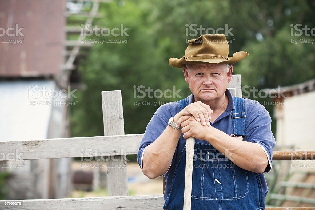 Frustrado velho agricultor foto royalty-free