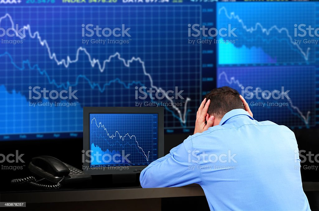 Frustrated Stock Market Trader royalty-free stock photo