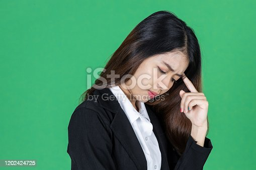 491747470 istock photo Frustrated stressed young Asian business woman with hands on face in depression on green isolated background. 1202424725