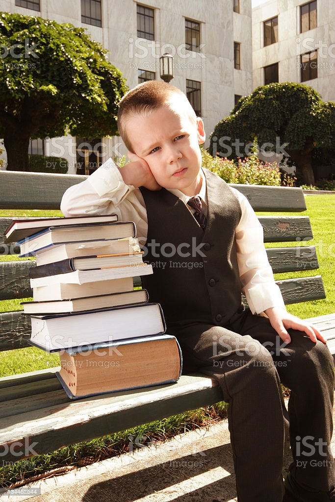 Frustrated Student on Bench stock photo