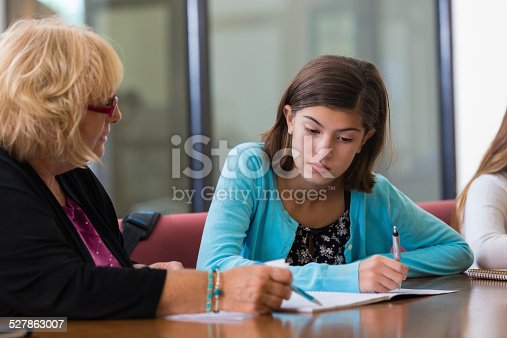 istock Frustrated student working with tutor on math assignment after school 527863007
