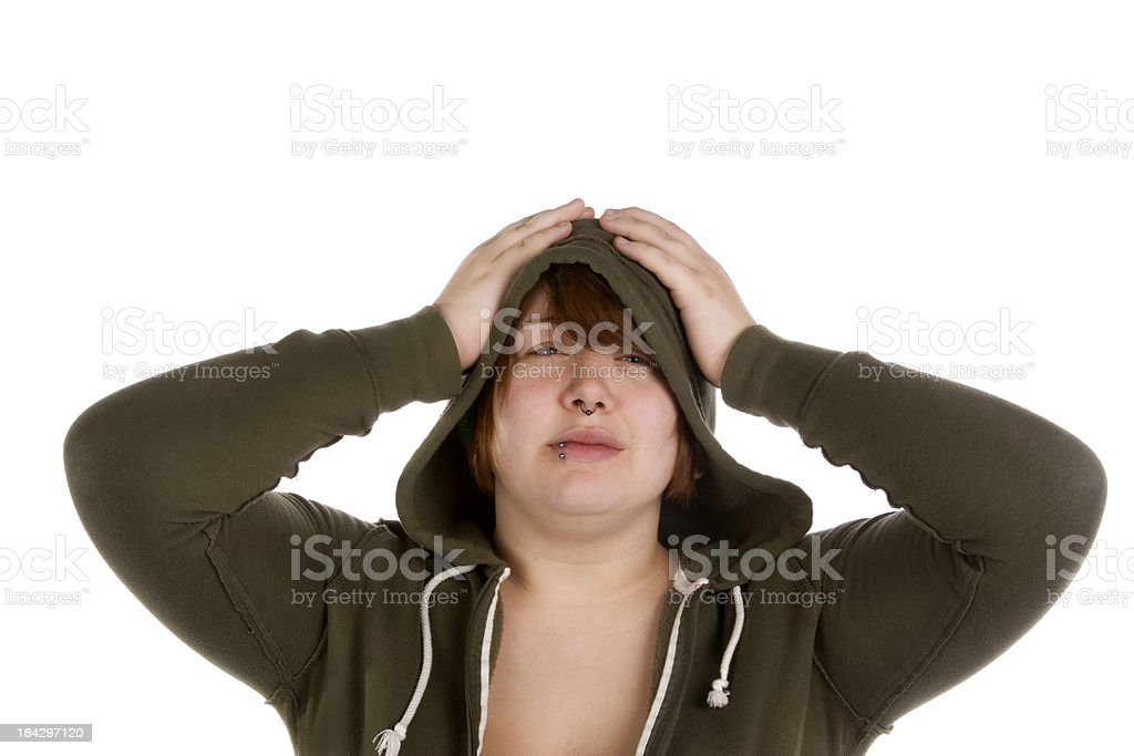 Frustrated teen with hands on head stock photo