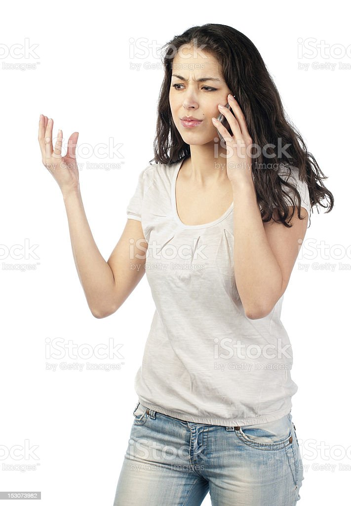 frustrated young woman on the phone royalty-free stock photo