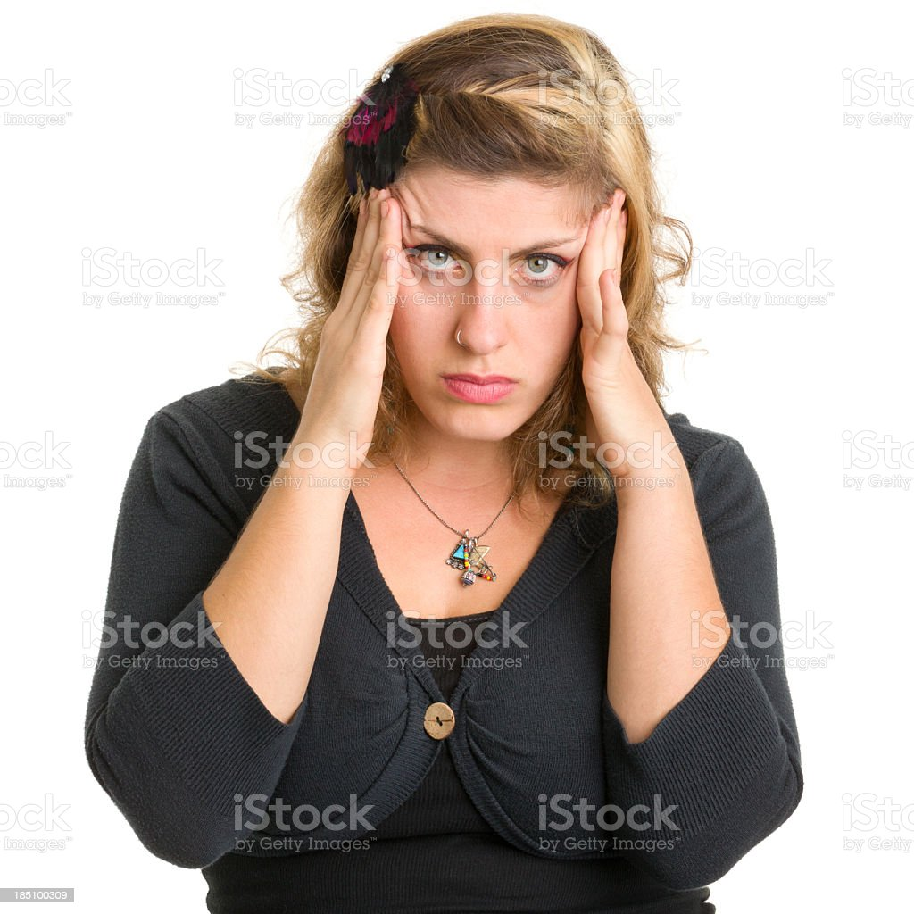 Frustrated Young Woman Rubbing Head royalty-free stock photo
