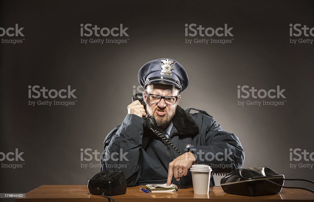 Frustrating Phone Conversation:  Police Chief stock photo