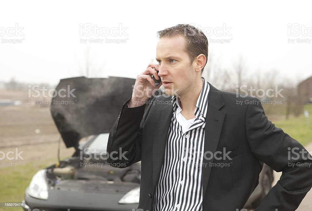 Frustration after car breakdown royalty-free stock photo