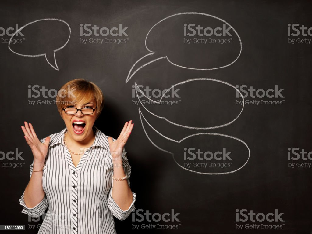 Frustration over Speech Bubbles royalty-free stock photo