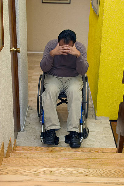frustration frustrated disabled man in front of staris discriminatory stock pictures, royalty-free photos & images