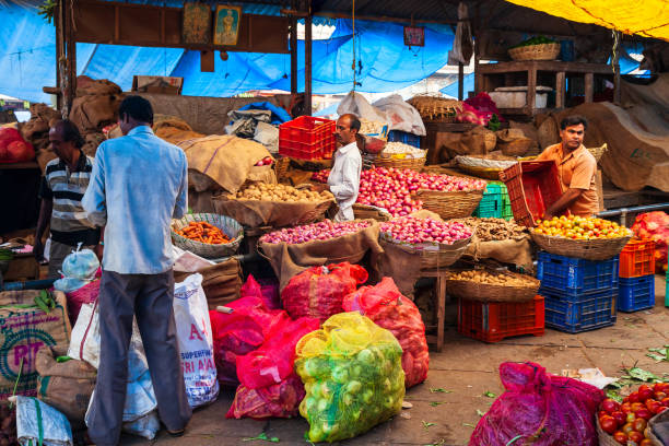 Fruts and vegetables at market stock photo