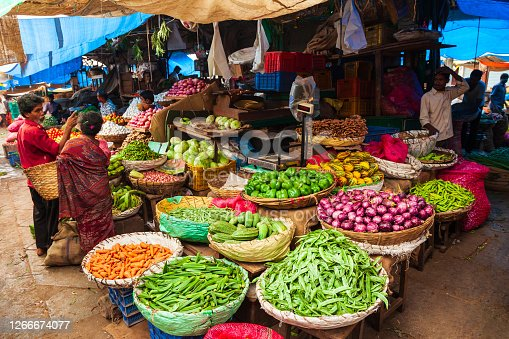 MYSORE, INDIA - MARCH 26, 2012: Fruts and vegetables at the local market in India