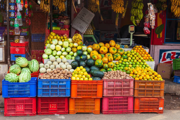 Fruts and vegetables market, India stock photo