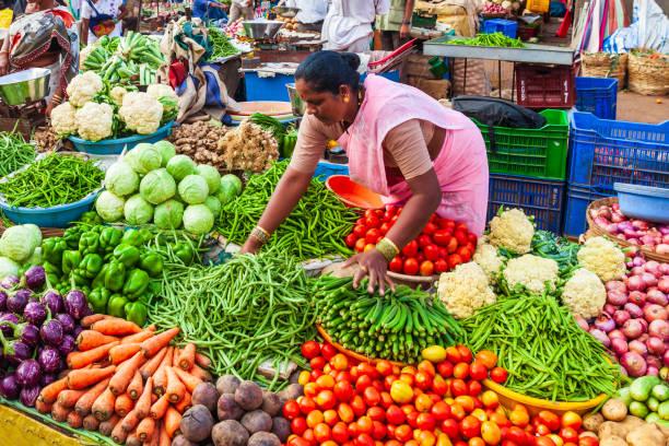 Fruts, vegetables at market, India stock photo
