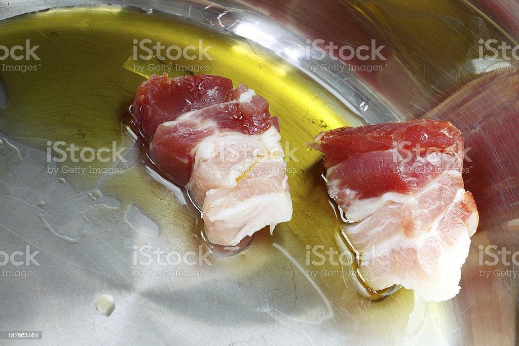 Frying Bacon stock photo