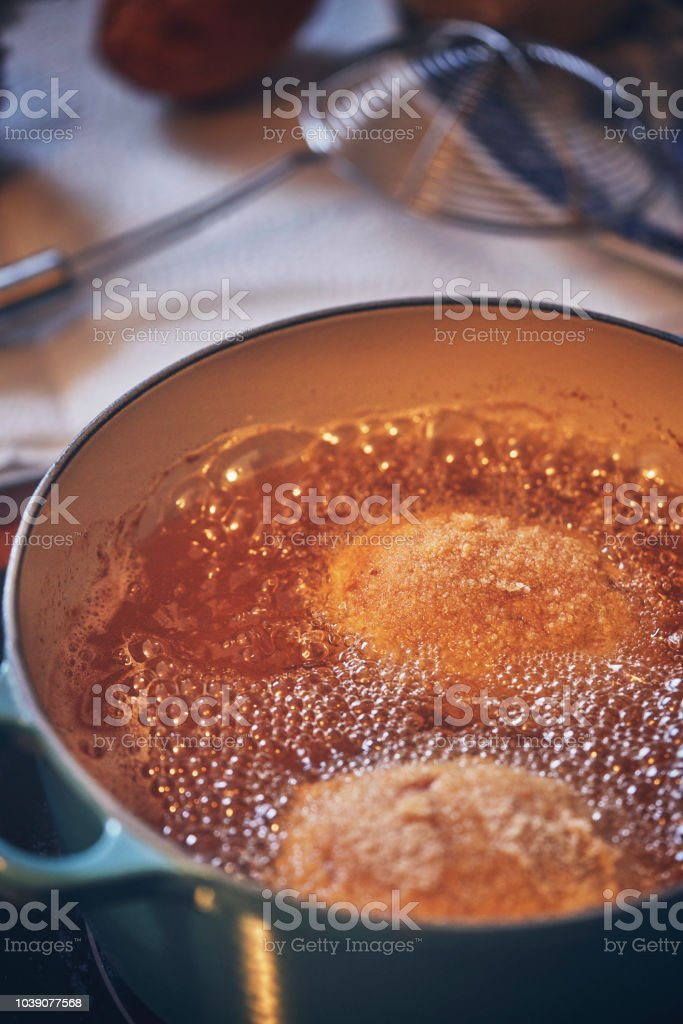 Frying British Scotch Eggs in Deep Fried Oil
