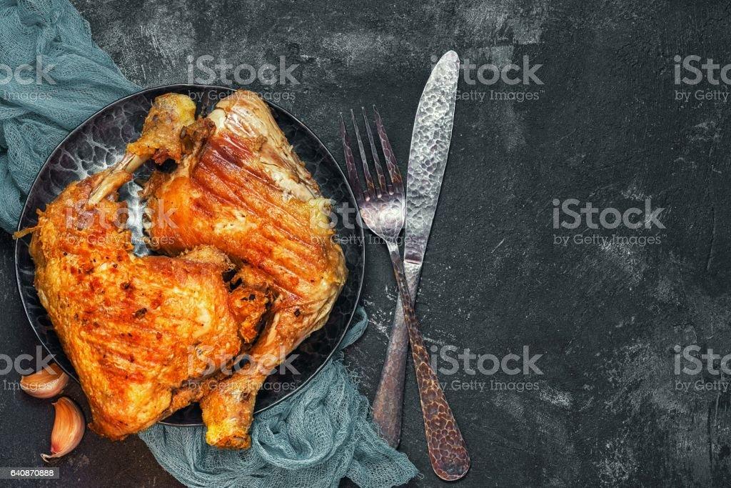frying chicken legs stock photo