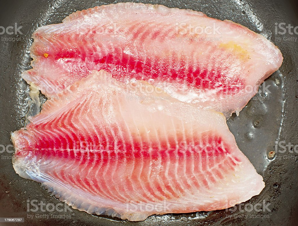 frying fish royalty-free stock photo
