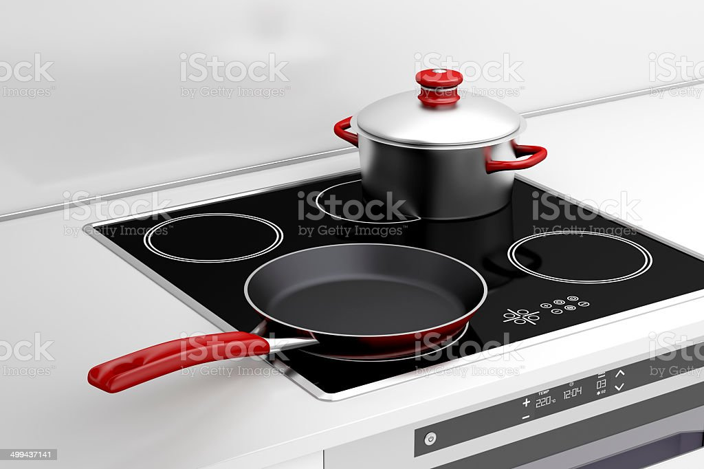 Frying pan and cooking pot stock photo