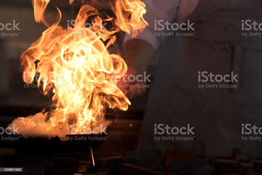Frying pan is on fire. stock photo