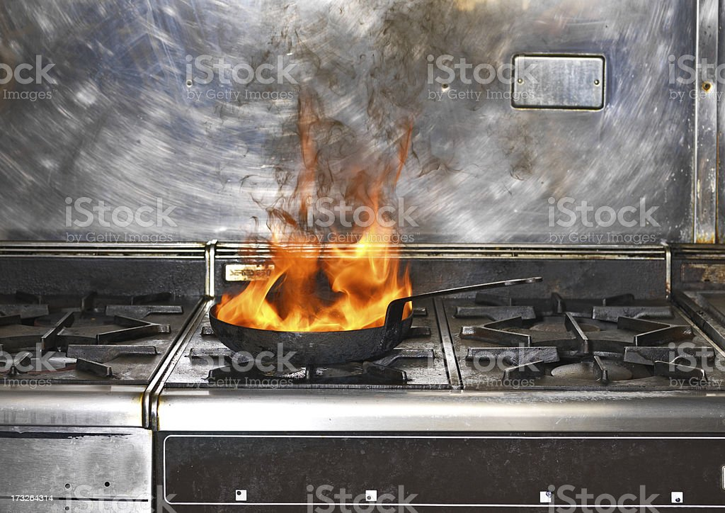 Frying Pan on Fire stock photo
