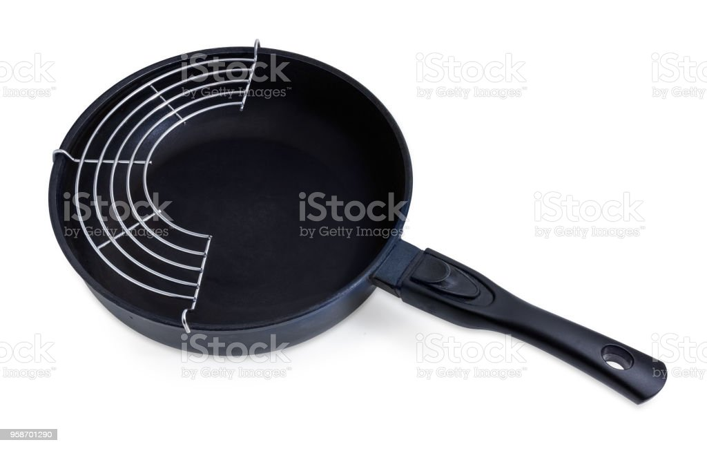 Frying pan with ceramic non-stick coating and lattice-insert stock photo