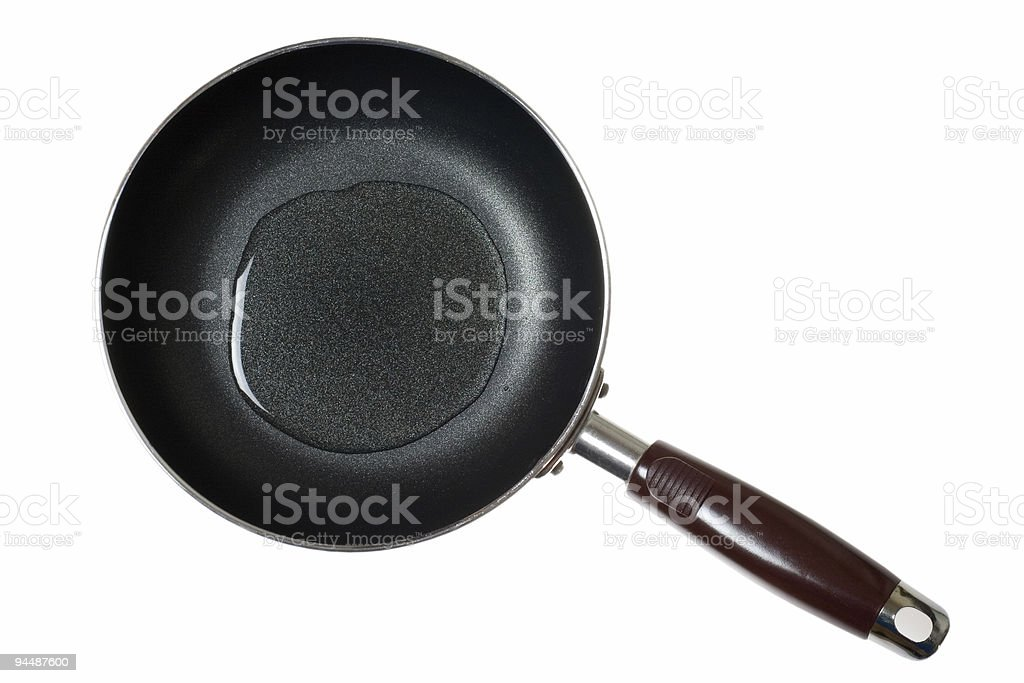 Frying pan with cooking oil stock photo