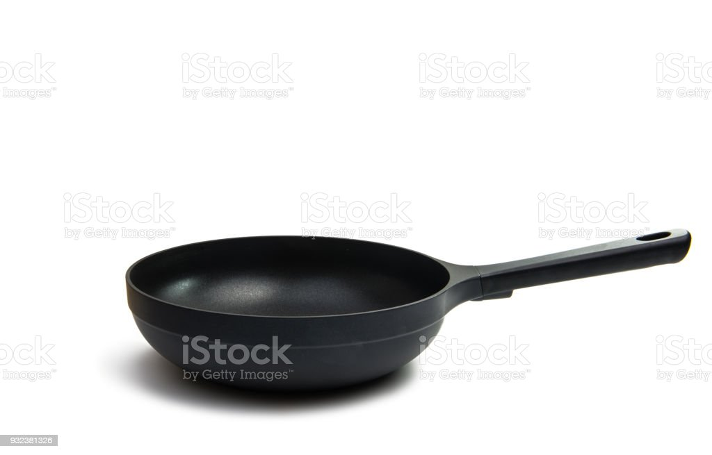Frying pan with non-stick coating and heating sensor stock photo