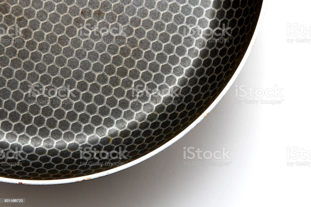 Frying pan with non-stick coating on a white background stock photo