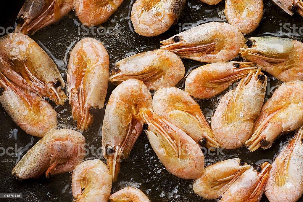 Frying pan with sea food stock photo